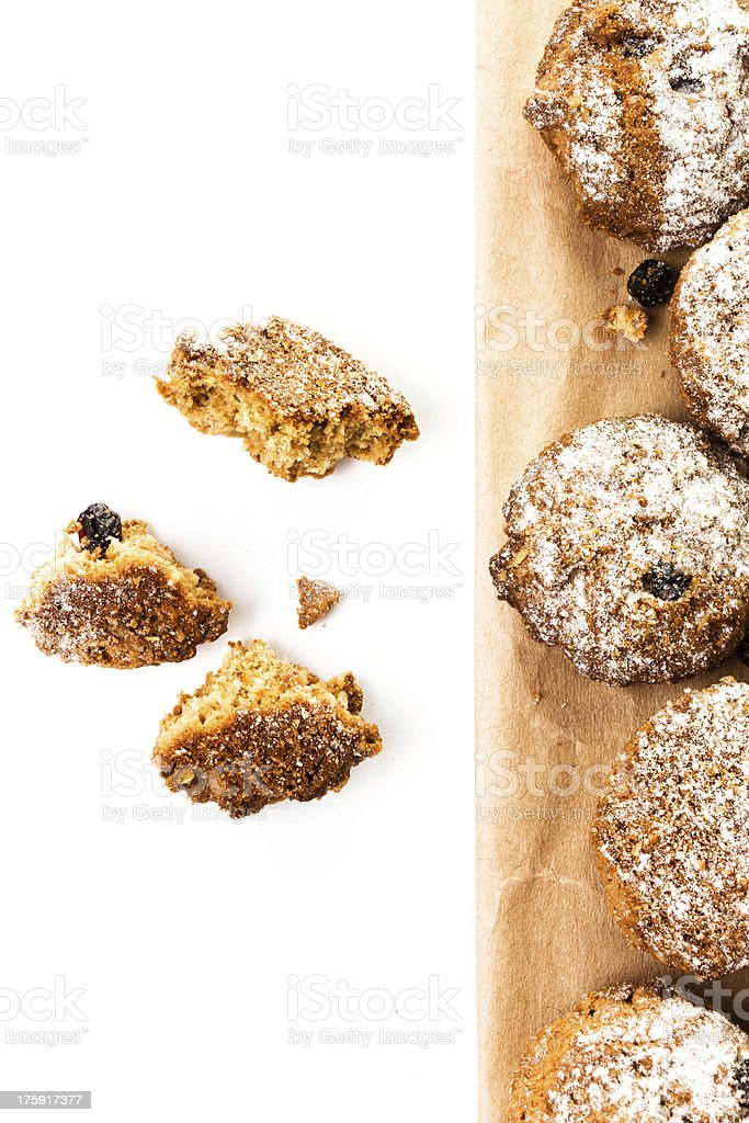 Pile of chocolate chips small cookies on brown paper parchament royalty-free stock photo