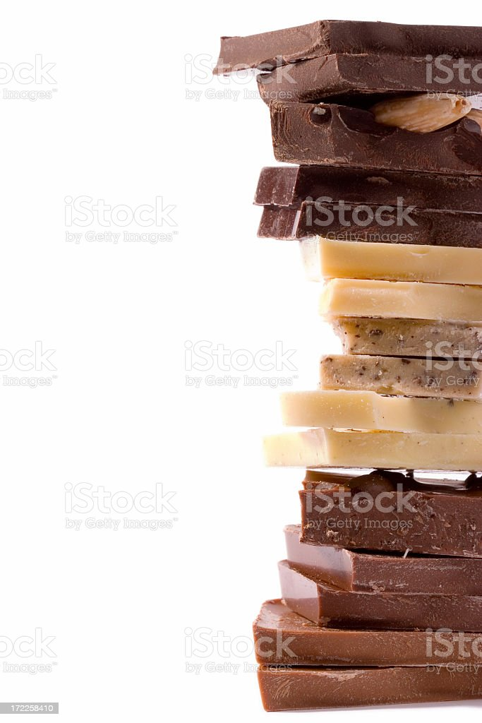 pile of chocolate chunks royalty-free stock photo