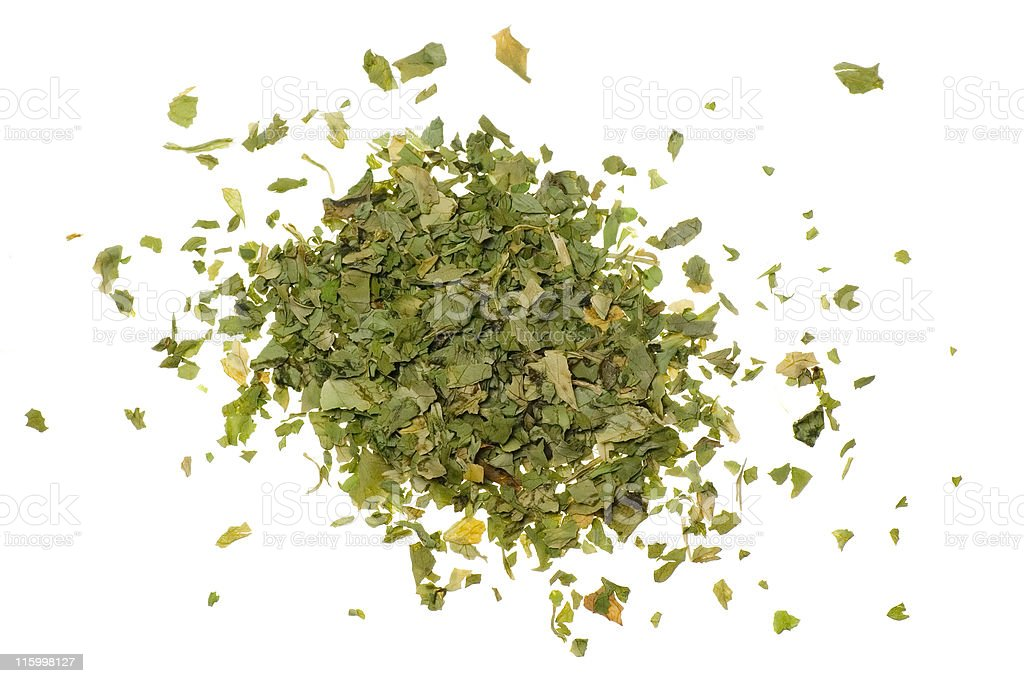 Pile of chopped coriander leaves stock photo