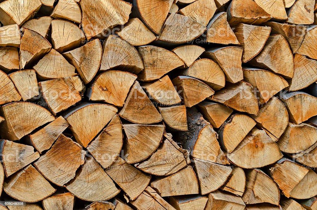 Pile of chopped firewood prepared for winter, Lakatnik stock photo