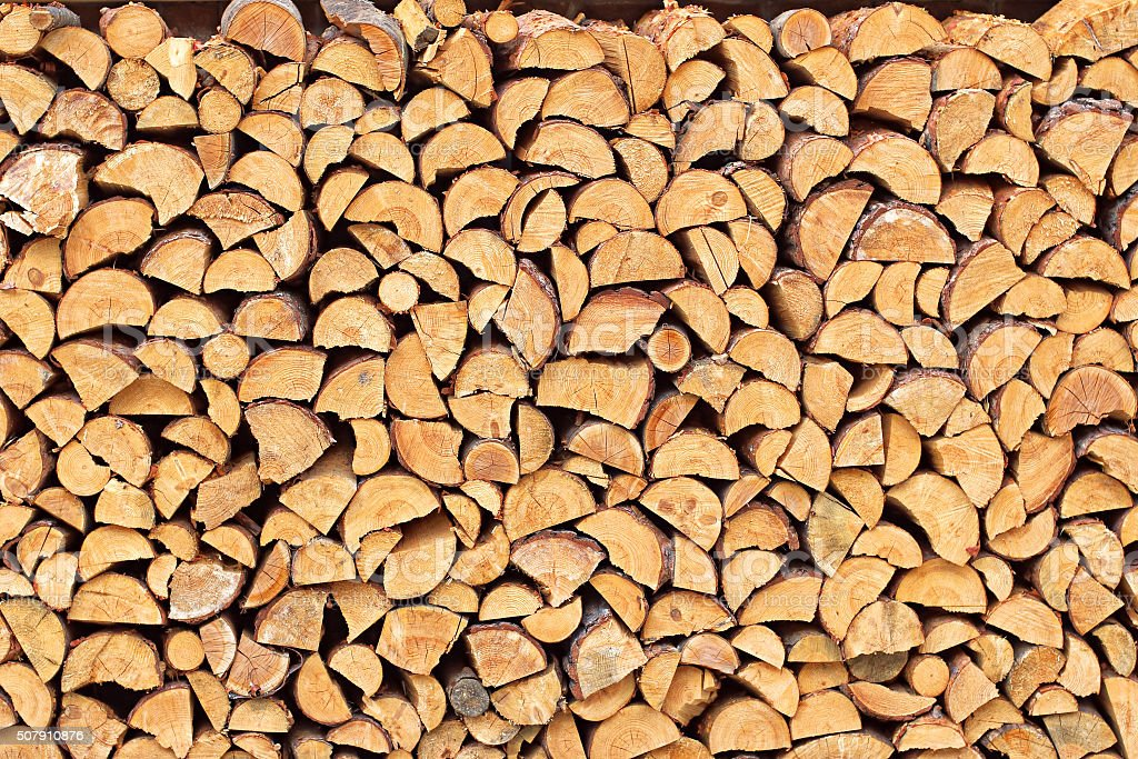 Pile of chopped wood material 3 stock photo