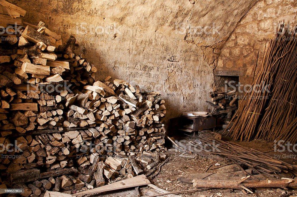 Pile of chopped wood royalty-free stock photo