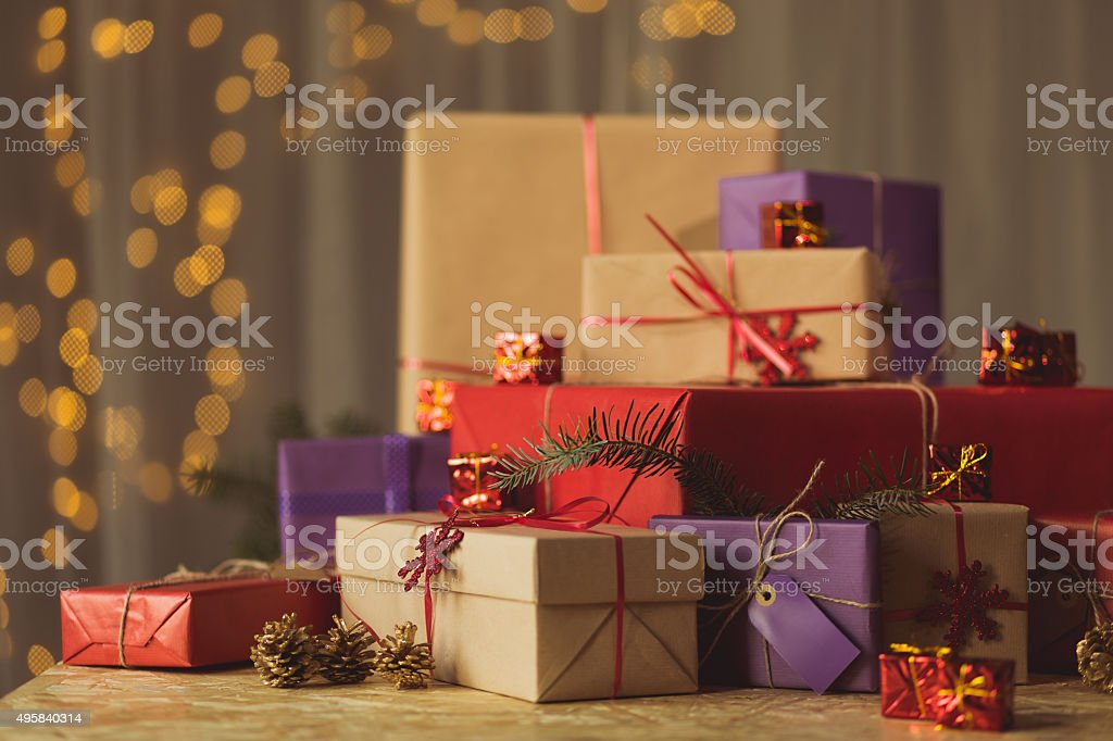 Pile of Christmas gifts stock photo