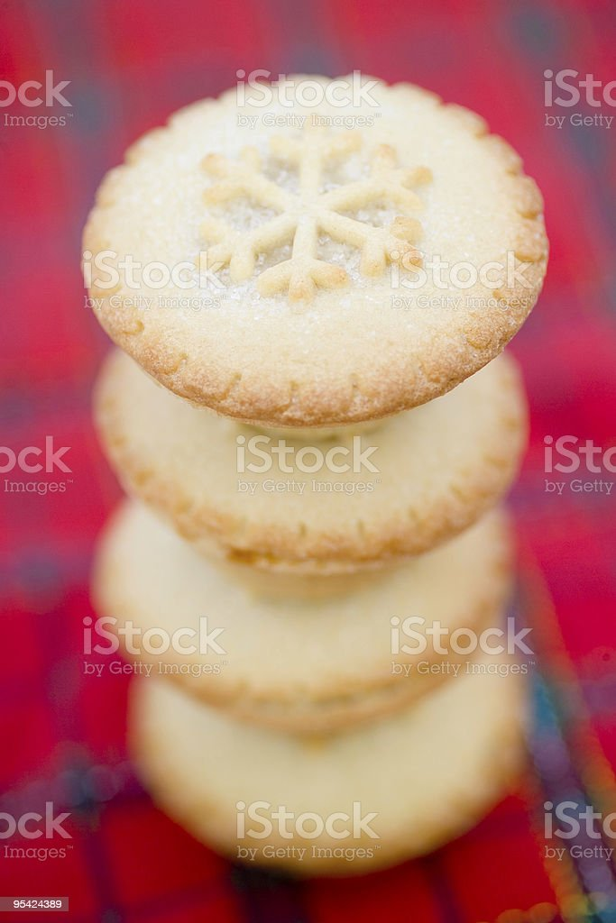 Pile of christmas mince pies narrow focus stock photo