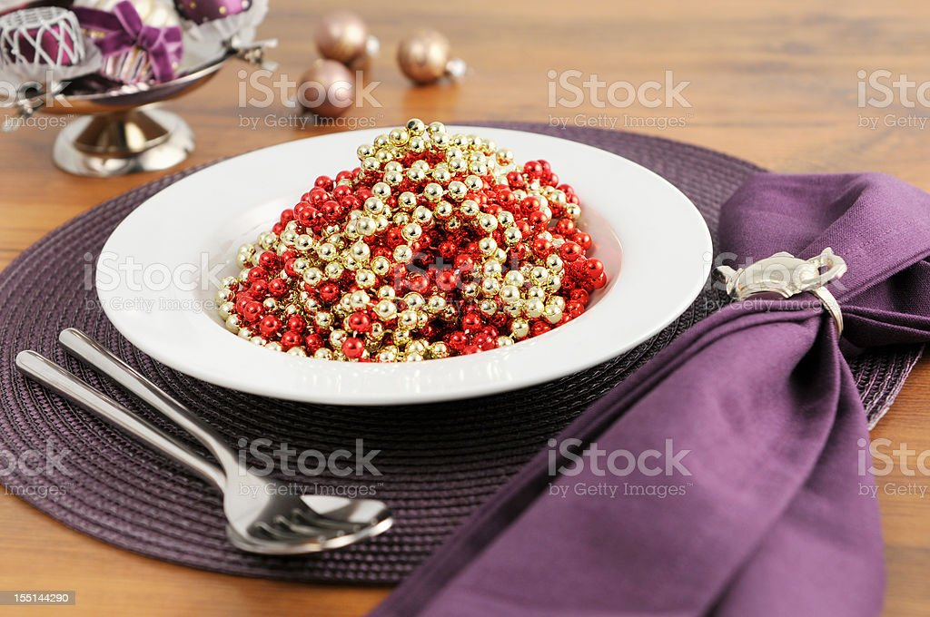 Pile of Christmas Pearl Spaghetti On Plate. royalty-free stock photo