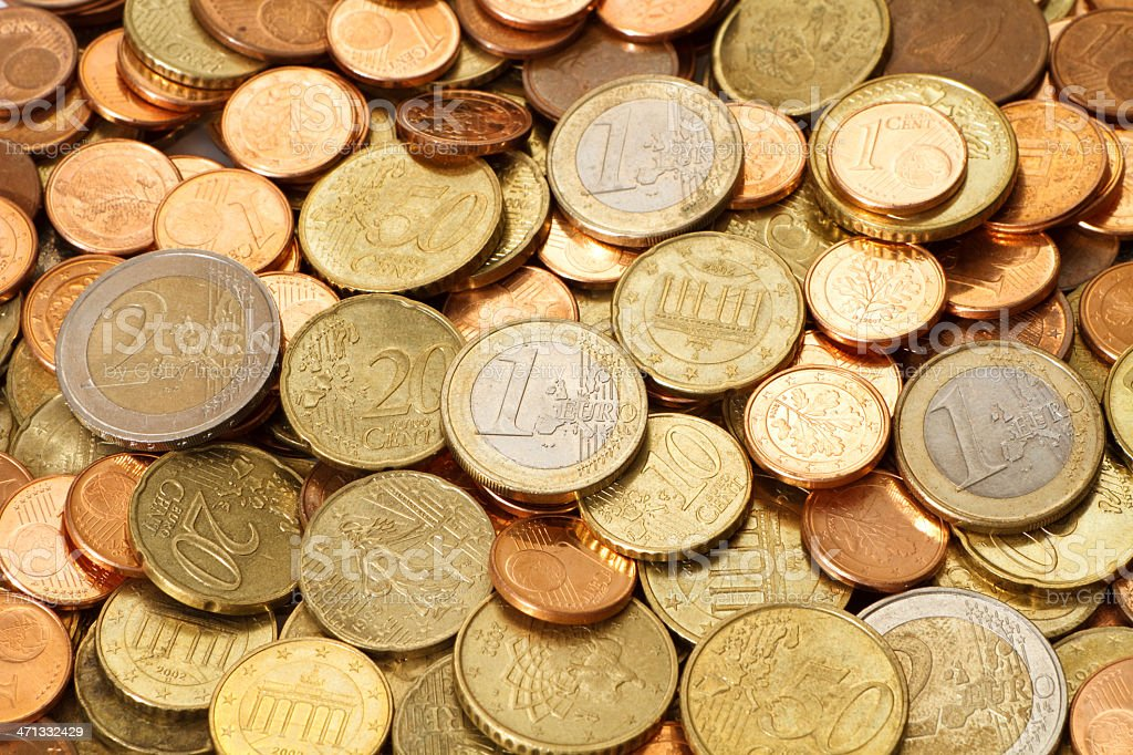 Pile of Circulated Modern Euro Coins stock photo