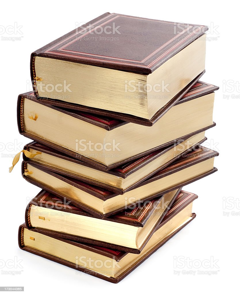pile of classic books royalty-free stock photo