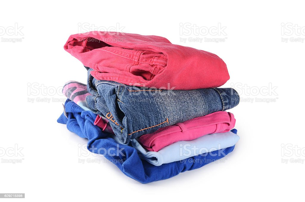 Pile of clothes isolated on white stock photo