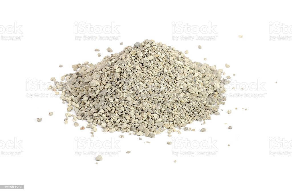 Pile of clumping kitty litter isolated on white background stock photo