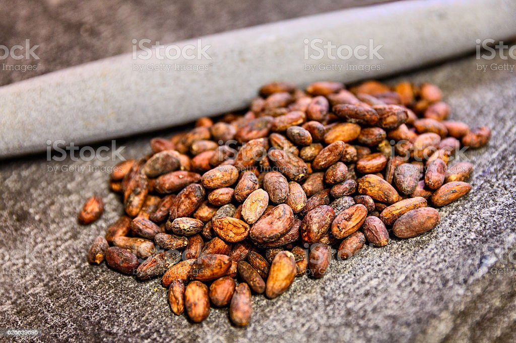 Pile of cocoa beans on stone grinder. Shallow DOF stock photo