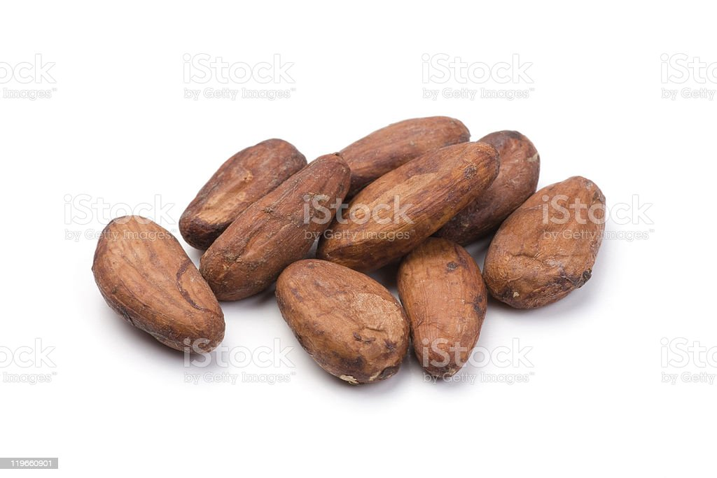 Pile of Cocoa beans stock photo