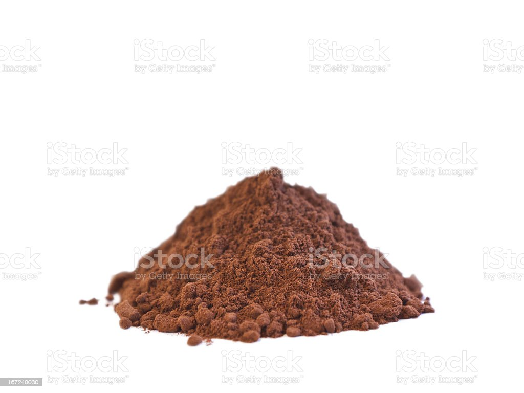 A pile of cocoa powder isolated on white background stock photo