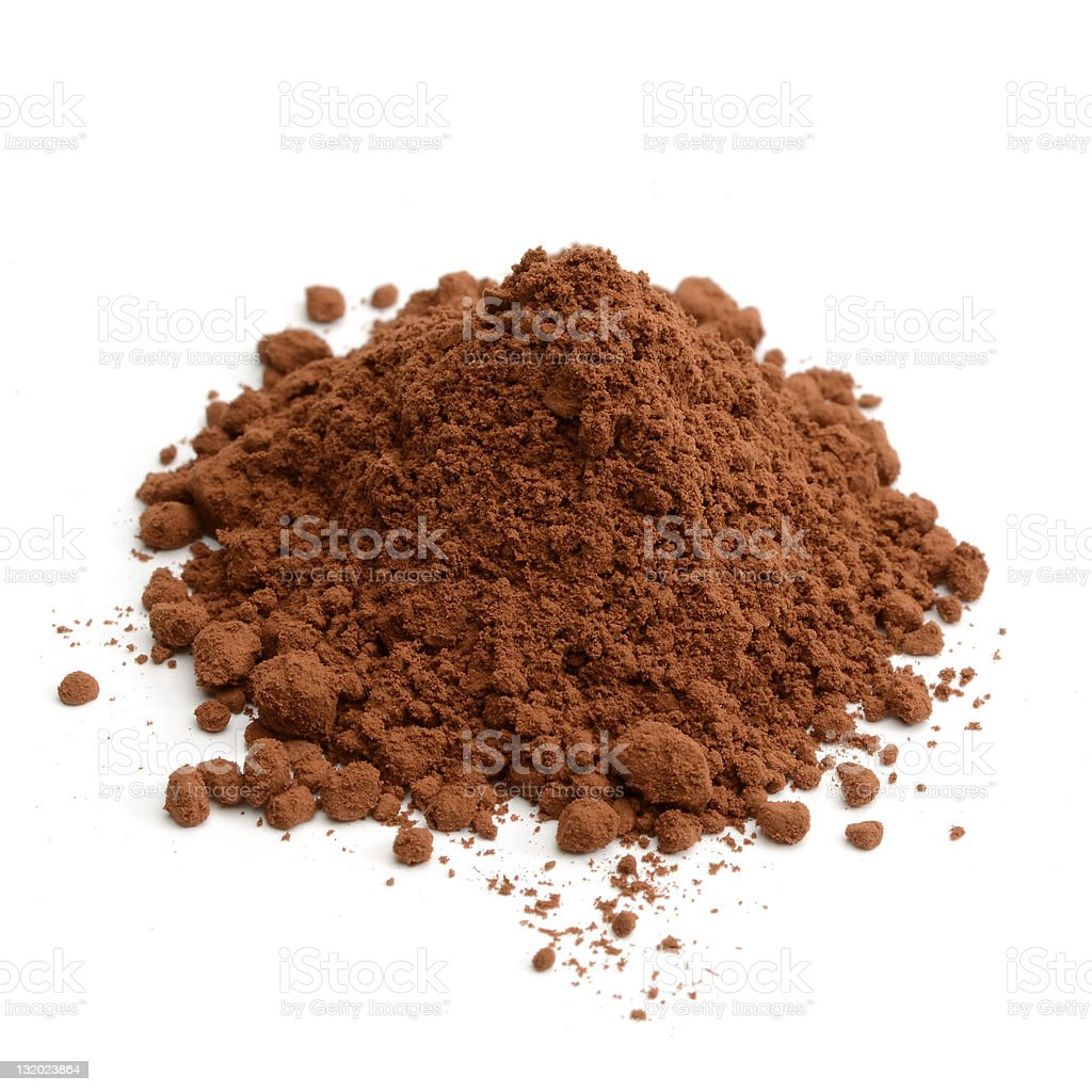 Pile of cocoa powder on white background stock photo