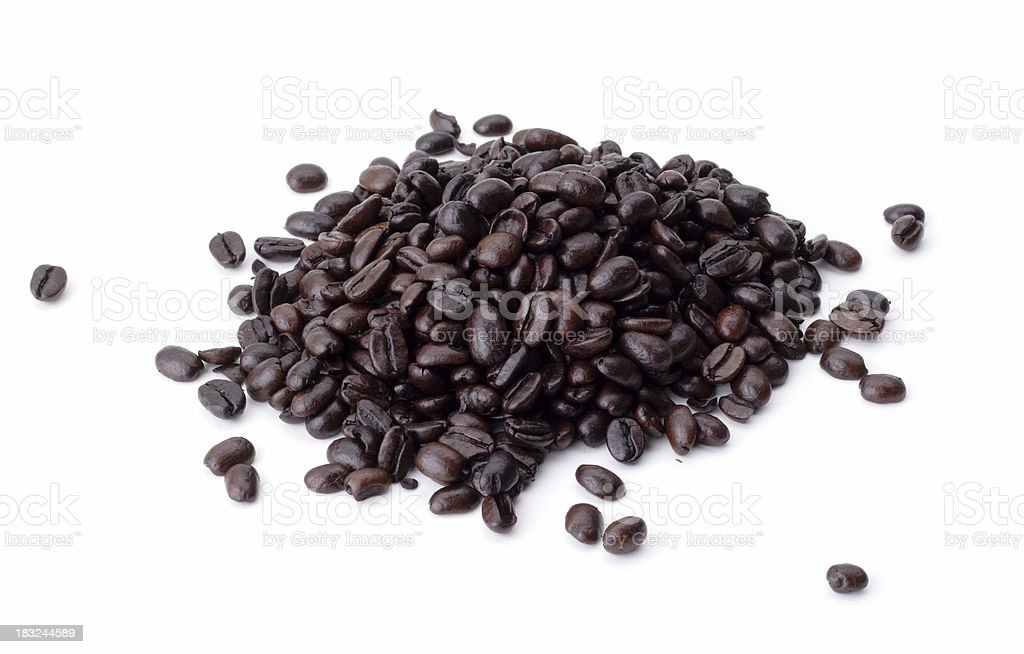 Pile of Coffee Beans on White Background royalty-free stock photo