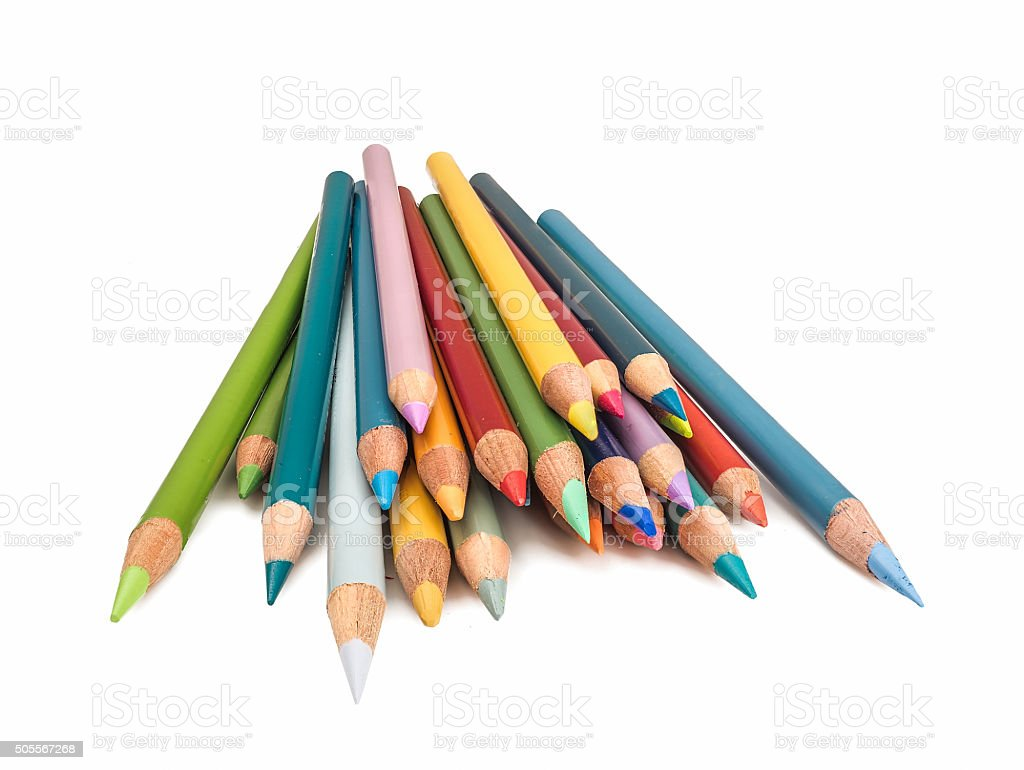 Pile of Colored Pencils Points Forward and Isolated on White stock photo
