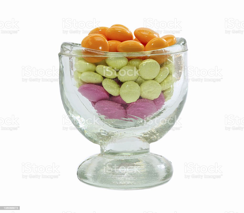 pile of colored pills in glass royalty-free stock photo