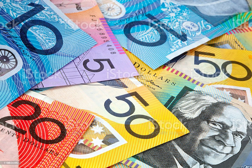 A pile of colorful Australian banknotes stock photo