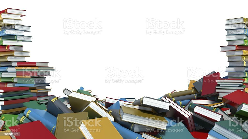 Pile of colorful books on white background stock photo