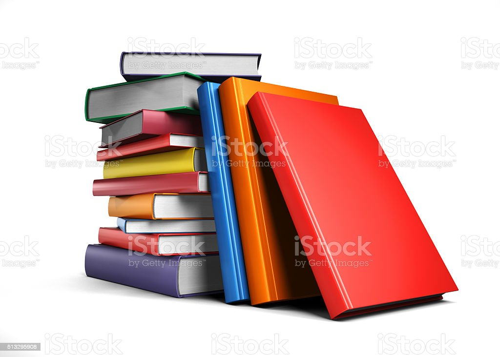 Pile of colorful books stock photo