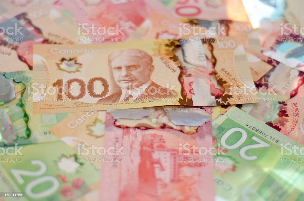 Pile of colorful Canadian money stock photo