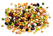 Pile of colorful dried beans and peas
