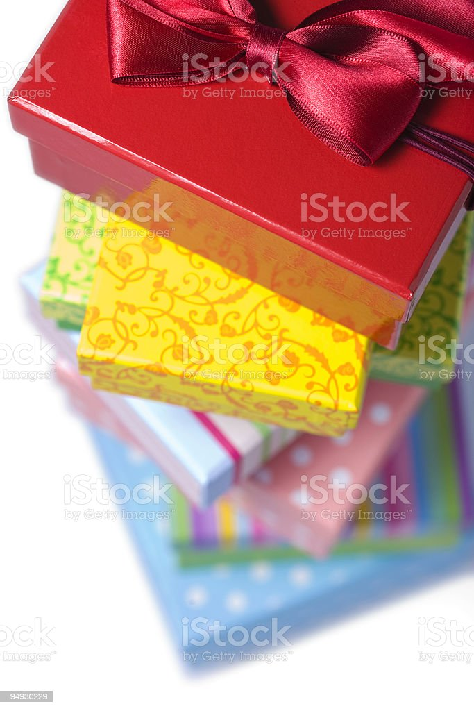 pile of colorful gift boxes close-up royalty-free stock photo