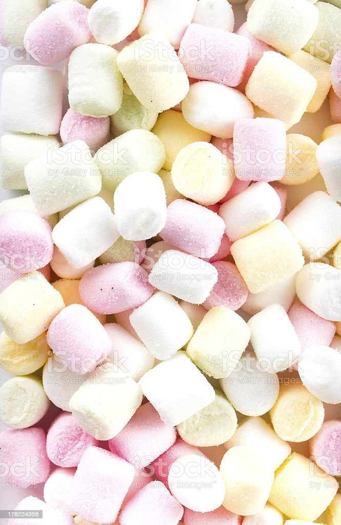Pile of colorful mini marshmallows as background stock photo