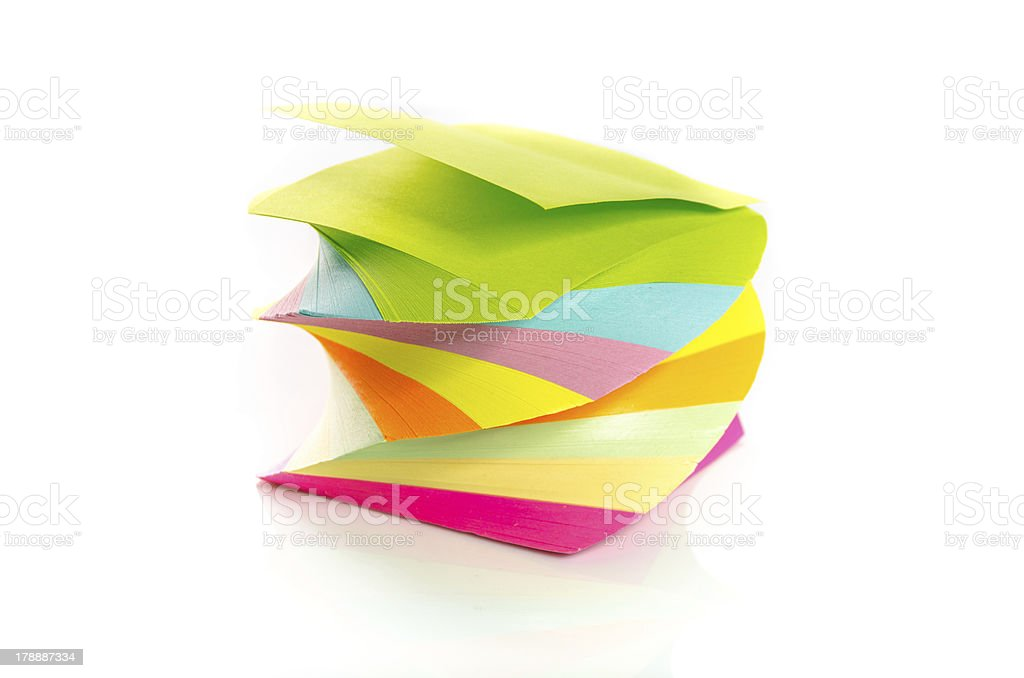 Pile of colorful post-it notes stacked on spiral stock photo