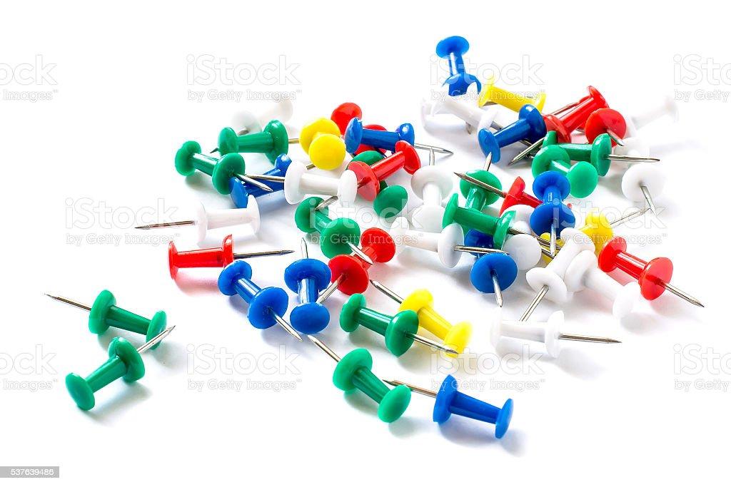 Pile of colorful thumbtack stock photo