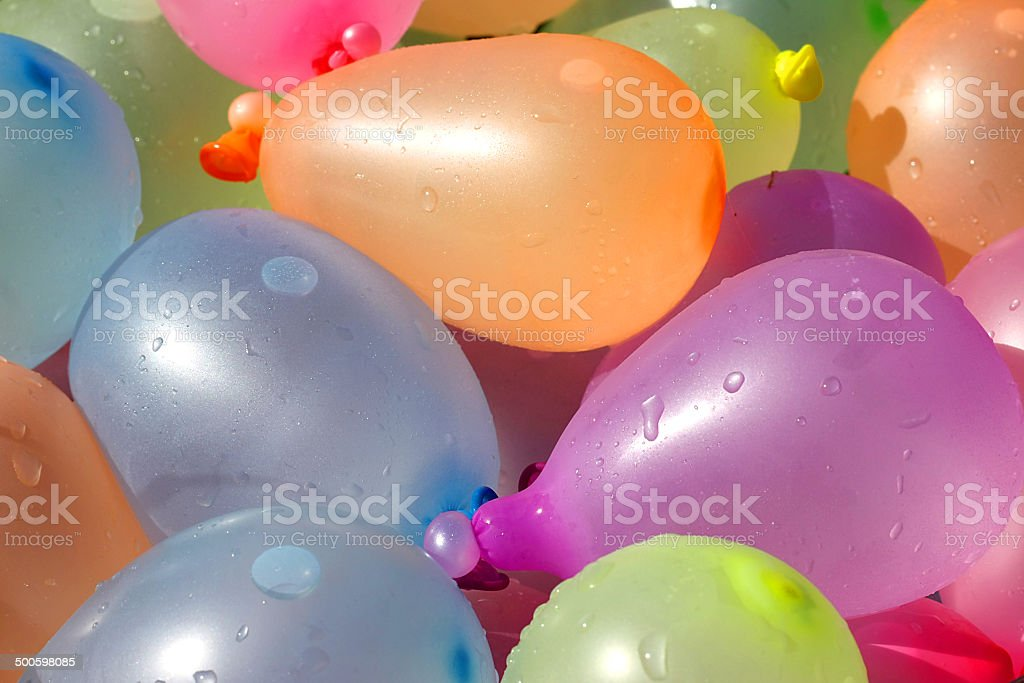 Pile of Colorful Water Balloons stock photo