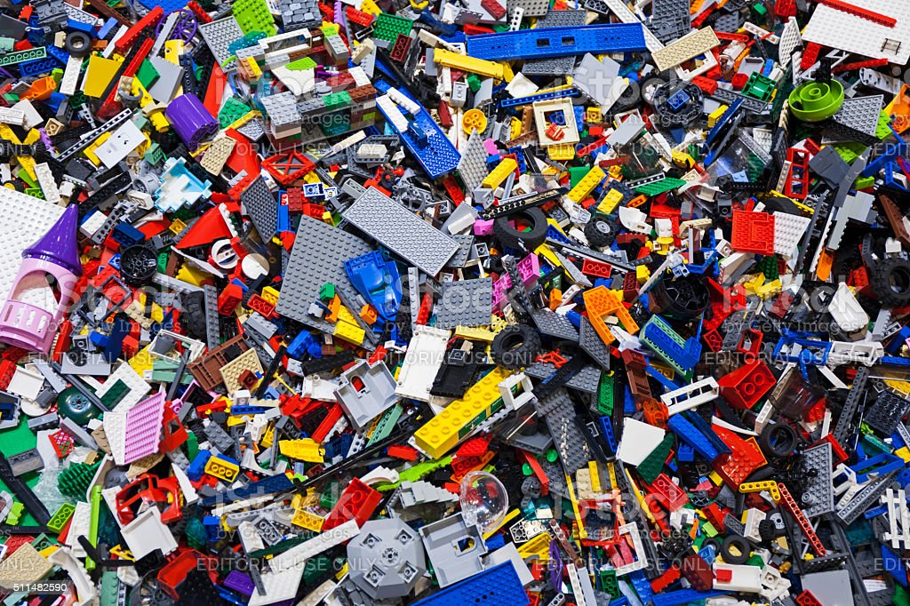 Pile of colourful Lego bricks. stock photo