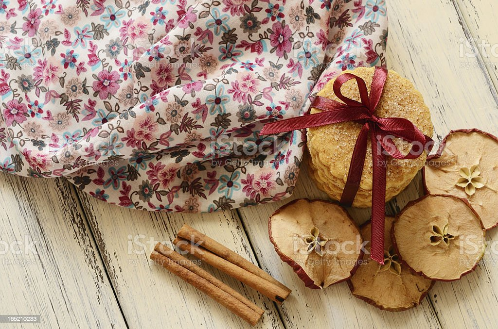 Pile of cookies tied up with ribbon and bow royalty-free stock photo