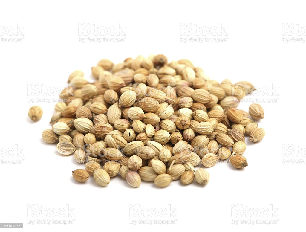 A pile of coriander on a white background stock photo