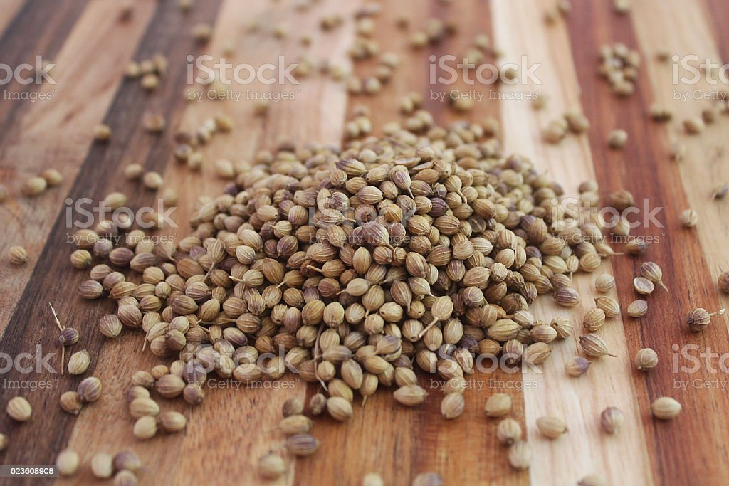 Pile of coriander seeds on wooden board stock photo