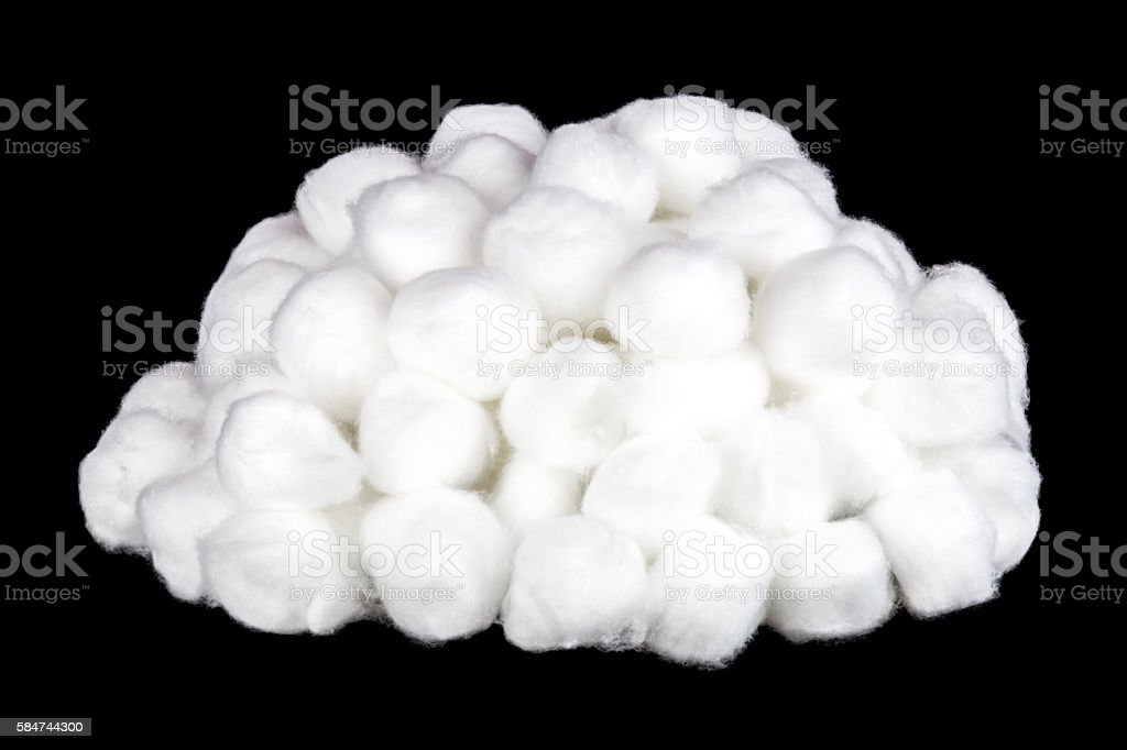Pile of Cotton Balls on a Black Background stock photo
