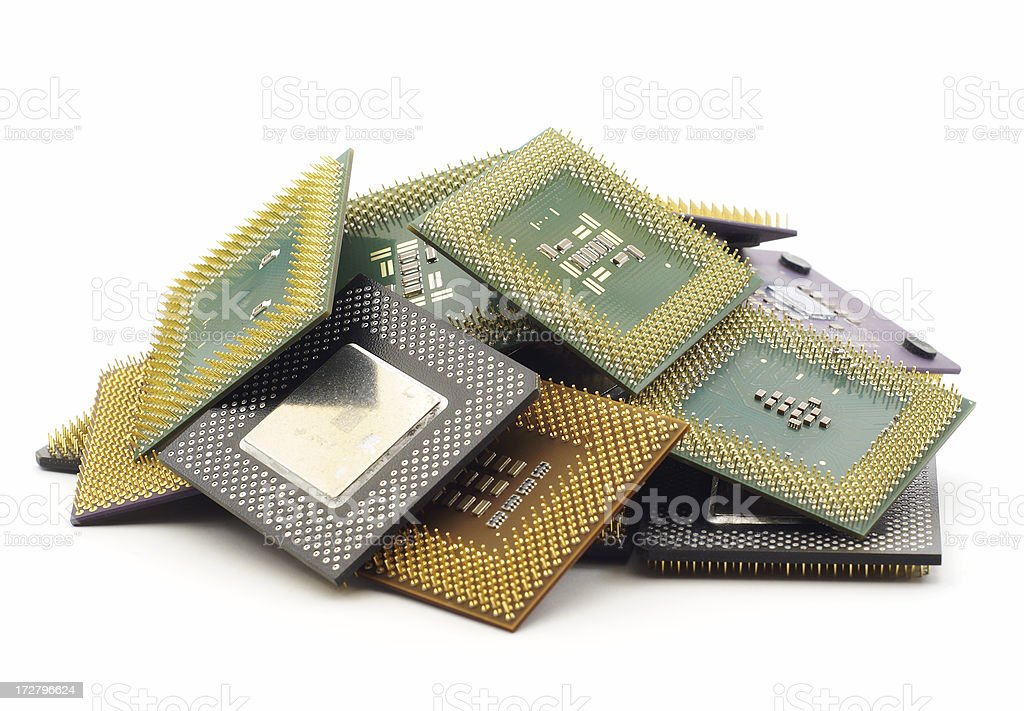 Pile of CPUs royalty-free stock photo