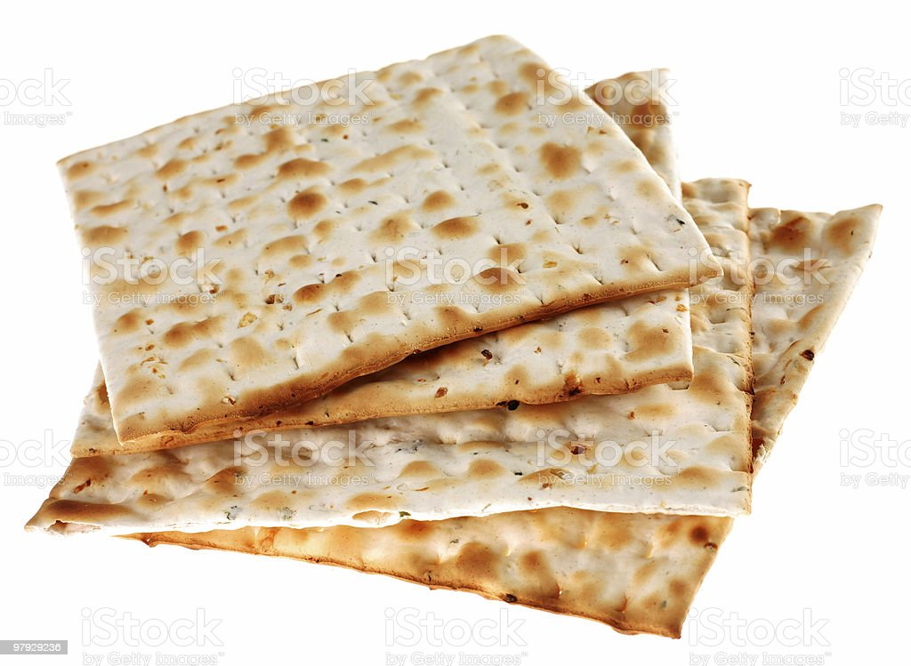A pile of crackers on a white background stock photo