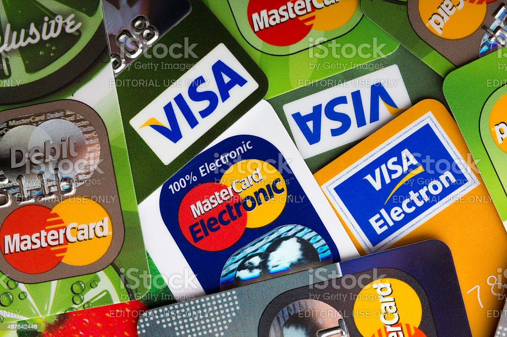 Pile of credit cards, Visa and MasterCard stock photo