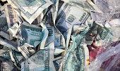 Pile of crumpled dollars