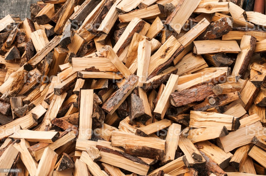Pile of cut firewood stock photo