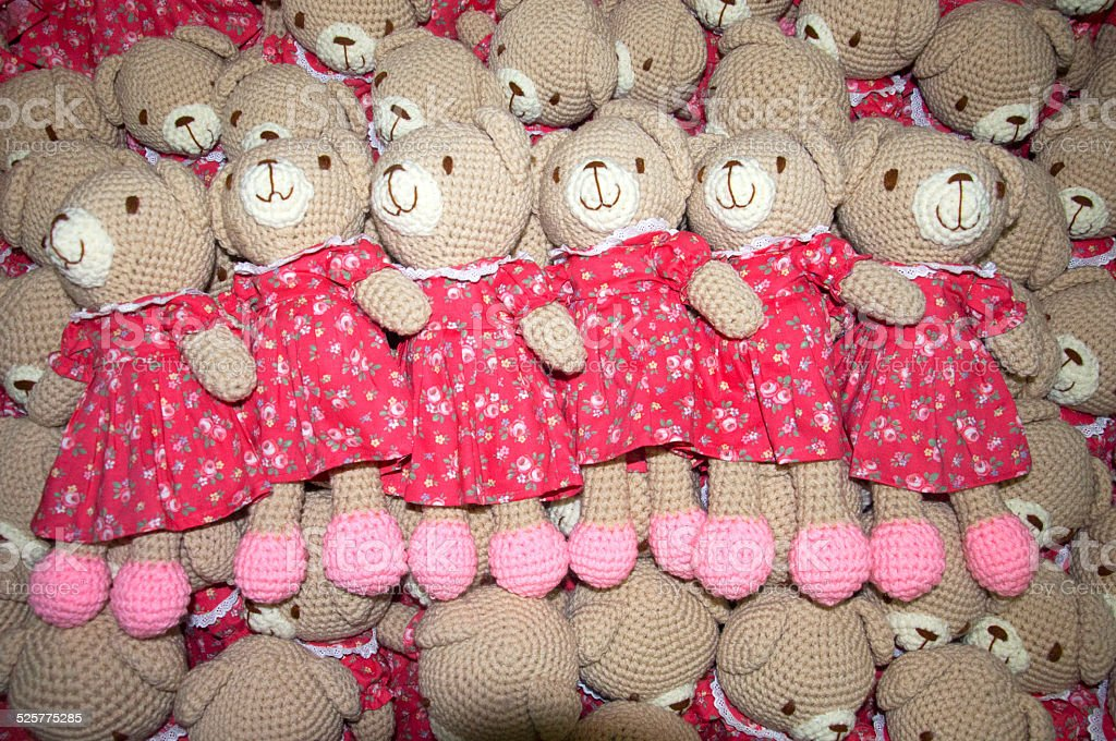 Pile of Cute teddy bear made by my  wife stock photo