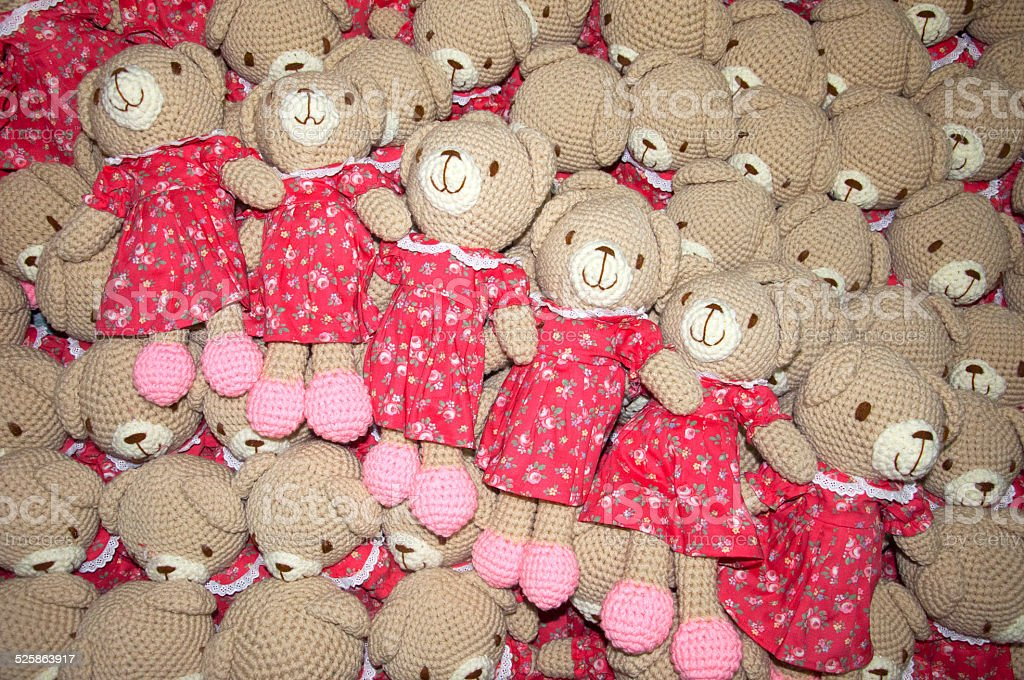 Pile of Cute teddy bear product by my  wife stock photo