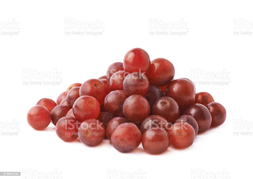 Pile of dark red grapes isolated stock photo