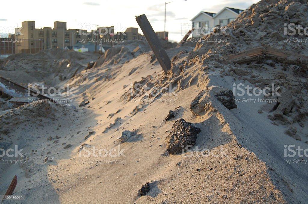 Pile of Debris After Hurricane Sandy stock photo