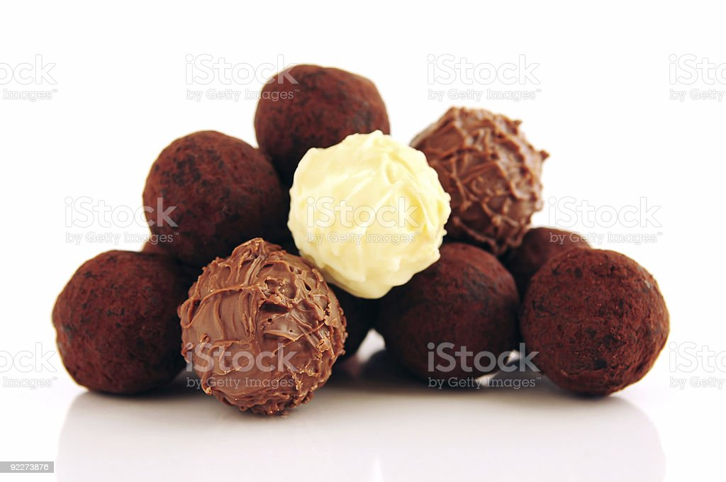 A pile of different chocolate truffles royalty-free stock photo