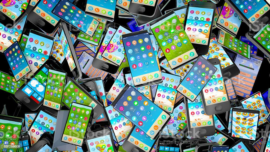 Pile of different types of cell phones. stock photo