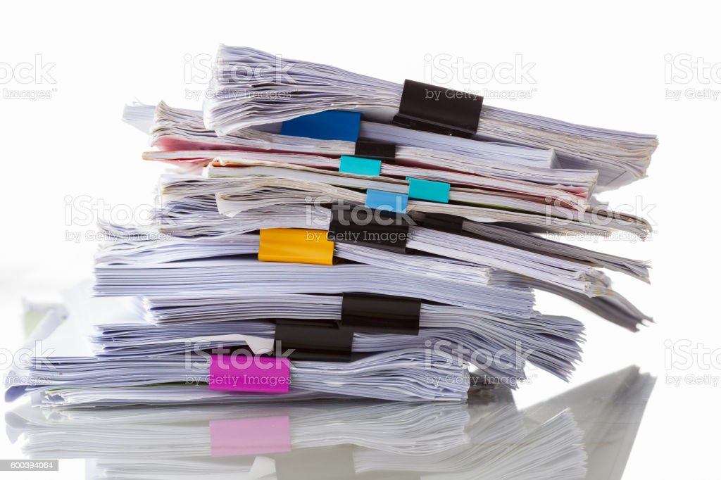 pile of document data file on white stock photo