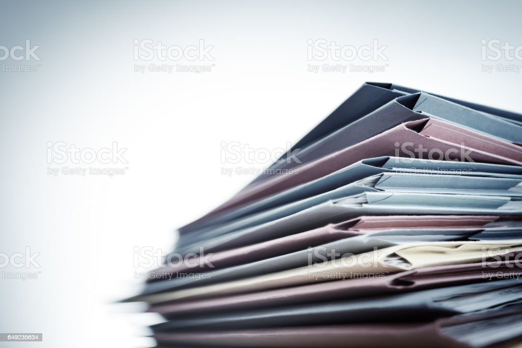 Pile of document files stock photo