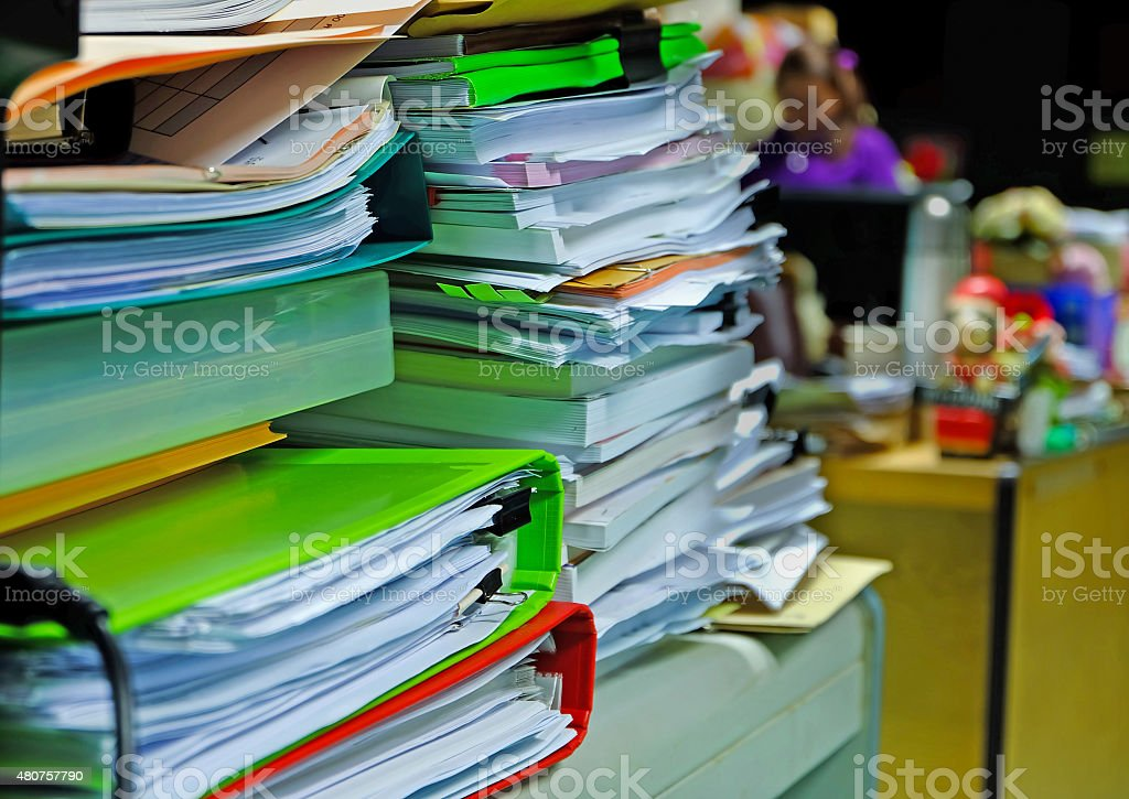 pile of document waiting to manage stock photo