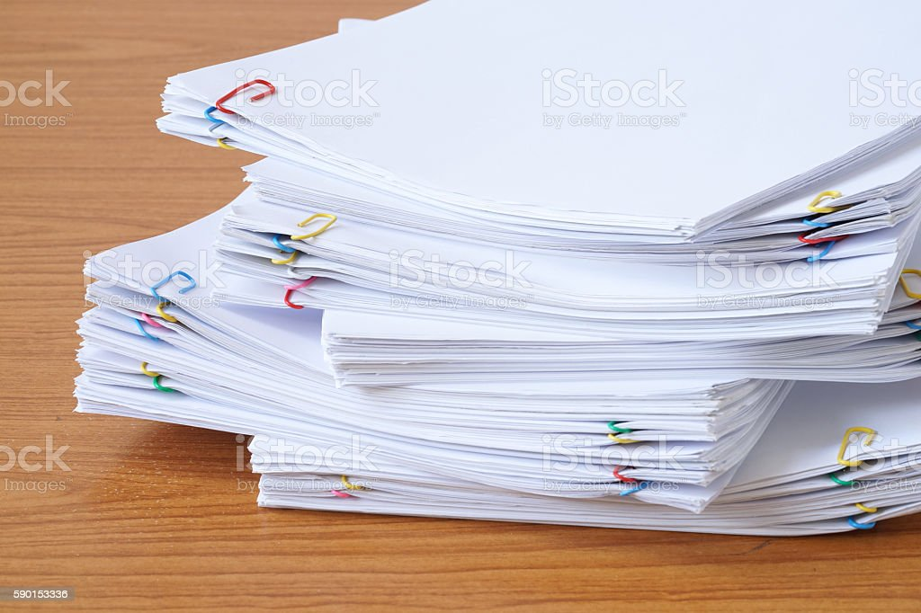 Pile of documents with colourful clips royalty-free stock photo